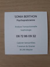 verso carte de visite Sonia Berthon