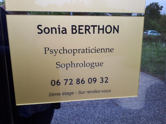 Plaque professionnelle - Sonia Berthon