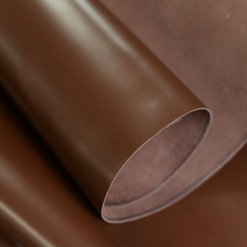 Dark Brown Halifax 4-4.5oz leather rolled with flesh side showing