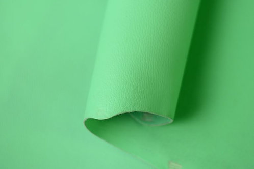 Seafoam Pebbled Zen 5-5.5oz leather rolled to show flesh and grain side