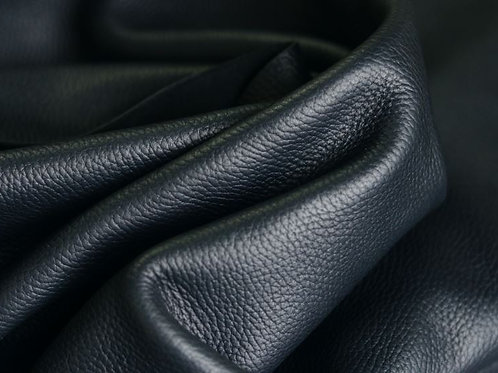 Premium Black Caprice 5.5oz pebbled leather folded