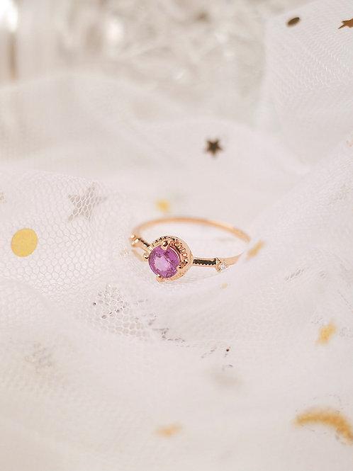 Classic Denim Purple Sapphire with Diamond Ring