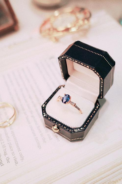 Sri Lanka Royal Blue Sapphire with Diamond Ring