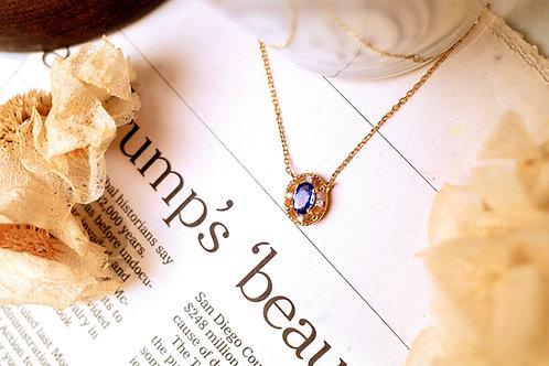 Vintage inspired  Lace Sri Lanka Royal Blue Sapphire Necklace