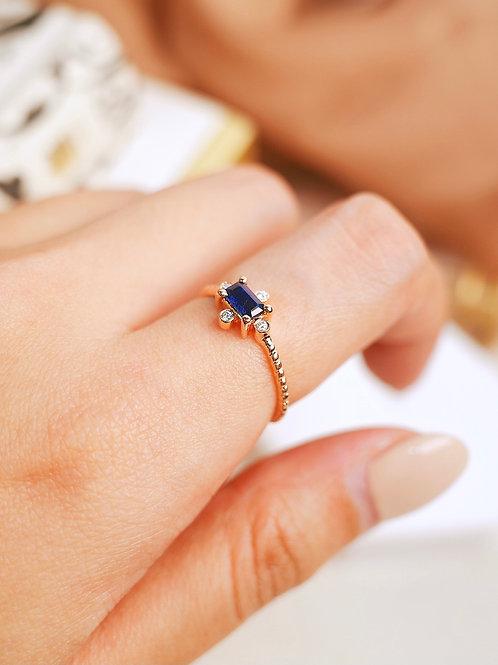 Pastel Royal Blue Emerald cut ring