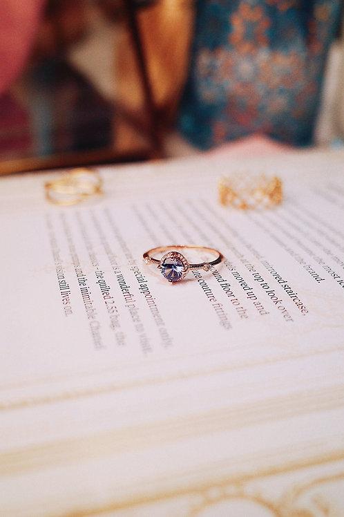 Classic Denim Blue Sapphire with Diamond Ring