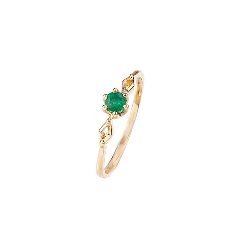 Little Leaf Sage Emerald Ring