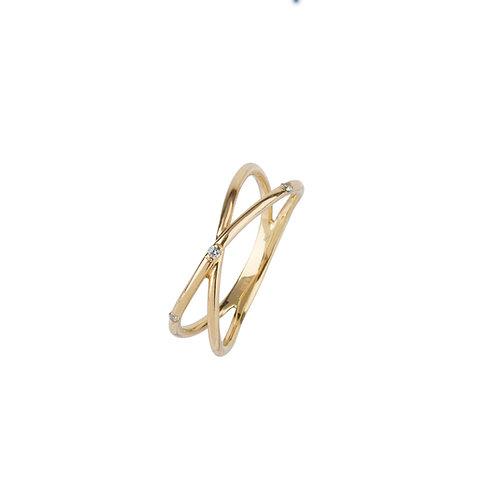Nylon White Cross Diamond Ring