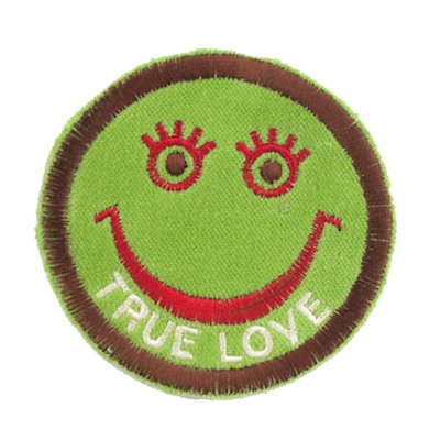 "No64 ALM Smile Patch Green ""TRUE LOVE"""