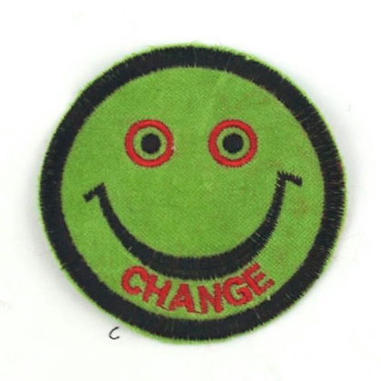 "No186  ALM Smile Patch Green   ""CHANGE"""