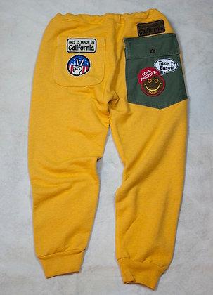 ALM Full Length Sweat Pants Yellow Small