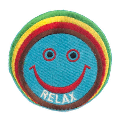 """No62 ALM Rastaman Smile Patch Turquoise """"RELAX"""""""