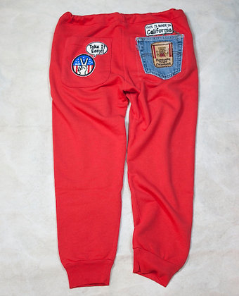 ALM Full Length Sweat Pants Red Small