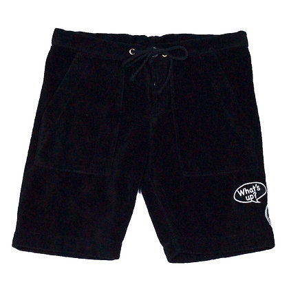 ALM Towel Shorts w/ Smile Patch, Black