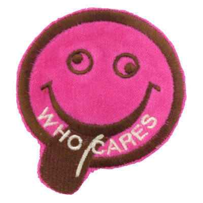 "No35 ALM Smile Patch Vivid Pink ""WHO CARES"""