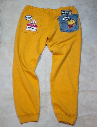 ALM Full Length Sweat Pants Yellow Large