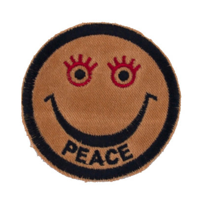 """ALM Smile Patch Brown """"PEACE"""""""