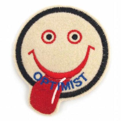 """No136 ALM Smile Patch White """"OPTIMIST"""""""