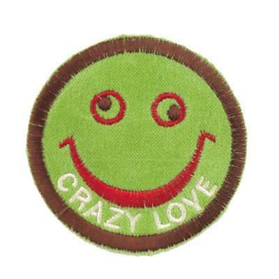 "No65 ALM Smile Patch Green ""CRAZY LOVE"""