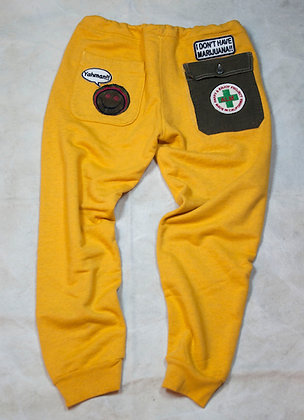 ALM Full Length Sweat Pants Yellow Small