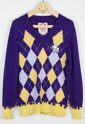 "ALM Recycle Cashmere Argyle Sweater ""LOST ANGELS"""