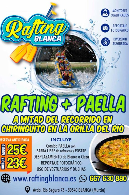 RAFTING + PAELLA DE 13'00 A 17'00 h.