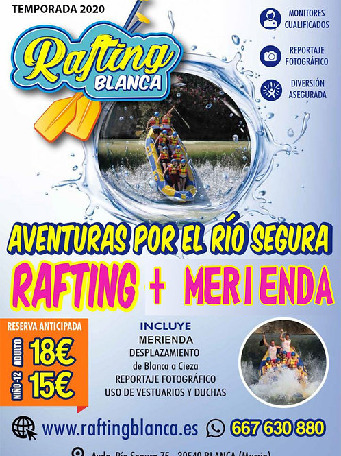 RAFTING + SNACK FROM 5:00 PM TO 8:30 PM.