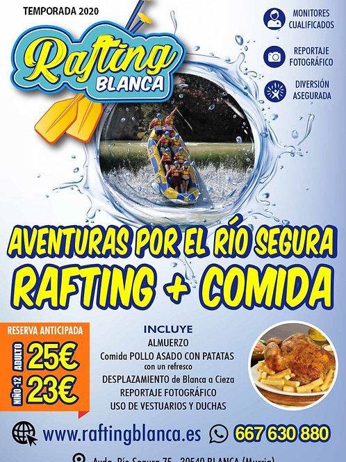 RAFTING + ALMUERZO + COMIDA 9'00 A 13'00 h.