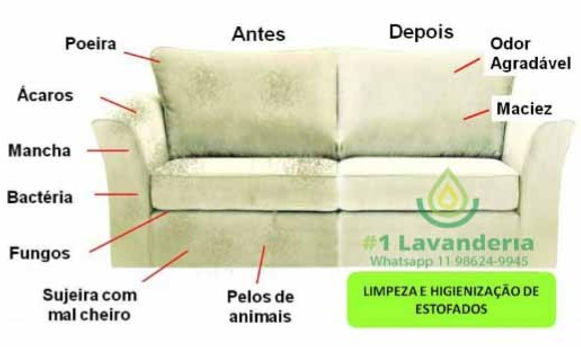 Lavagem de sofa antes e depois Mogi das