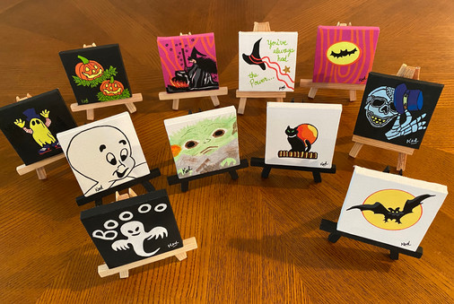 Halloween themed mini canvases