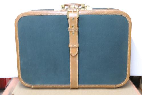 Très belle valise originale Delvaux cuir et tissu années 50
