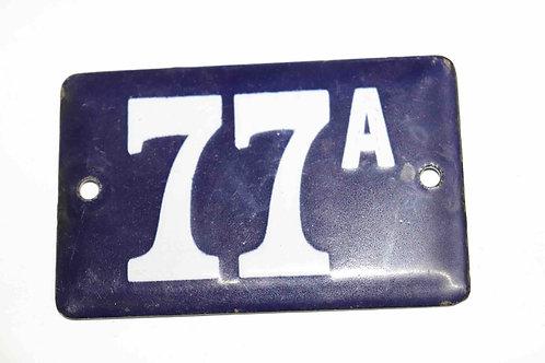 Numéro de maison ancienne plaquette émaillée n°77 A