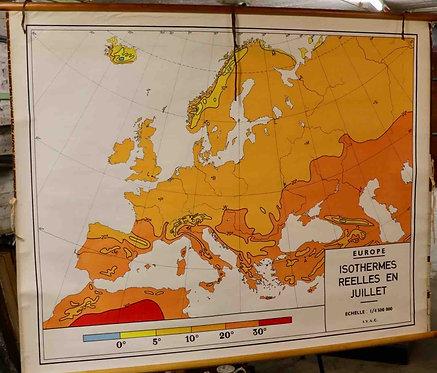 Carte scolaire entoilée Isothermes réelles en juillet