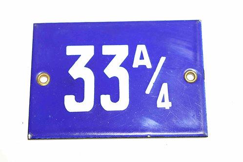 Numéro de maison ancienne plaquette émaillée n°33 A/4