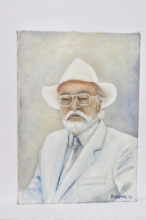 Huile sur toile portrait du Docteur Gernay psychiatre, datée et signée
