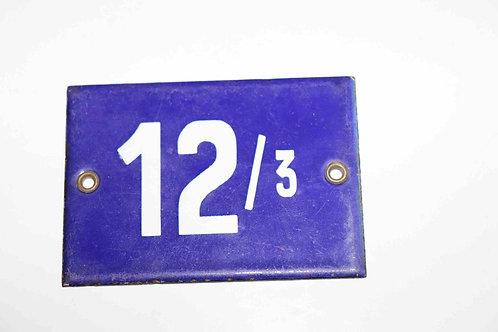 Numéro de maison ancienne plaquette émaillée n°12/3