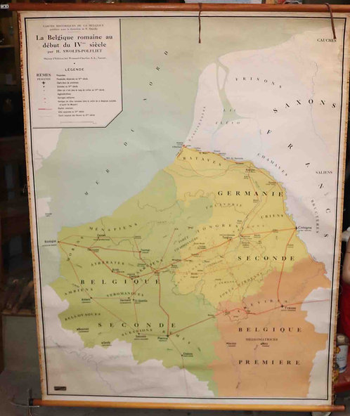 Carte scolaire didactique La Belgique Romaine au début du IVème siècle