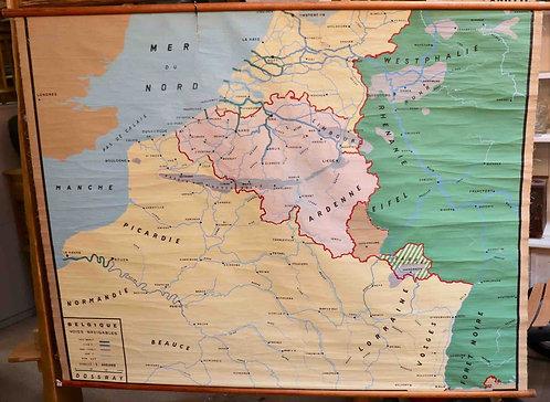 Carte scolaire didactique La Belgique Voies navigables