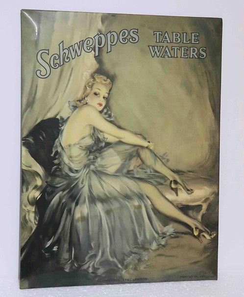 Publicité glaçoïde Schweppes Table Waters