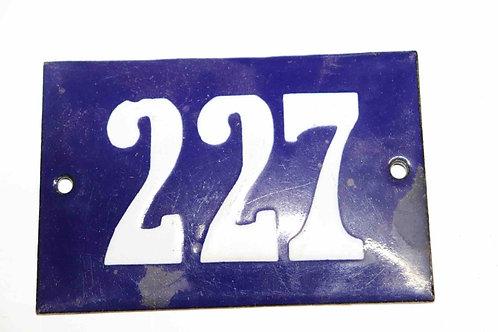 Numéro de maison ancienne plaquette émaillée n°227