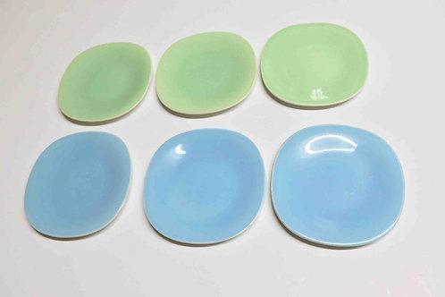 Lot de 6 sous-tasses pastel carrées Boch Frères - sixties