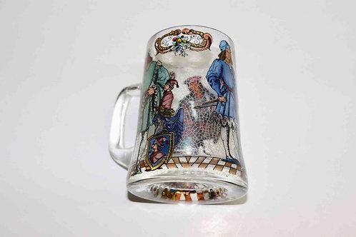 Chope en verre  vitrail décor médiéval