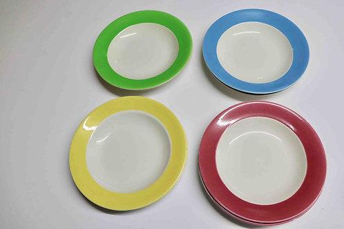 Ensemble de 8 assiettes creuses Boch Frères 1963 marli couleur