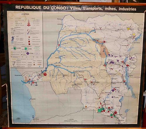 Carte scolaire didactique République du Congo villes, transports...