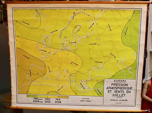 Carte scolaire didactique Europe Pressions atmosphériques Juillet