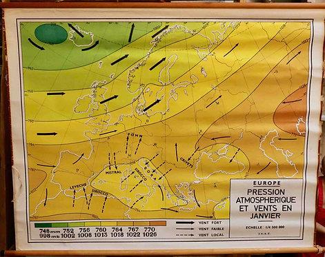 Carte scolaire didactique Europe Pressions atmosphériques Janvier