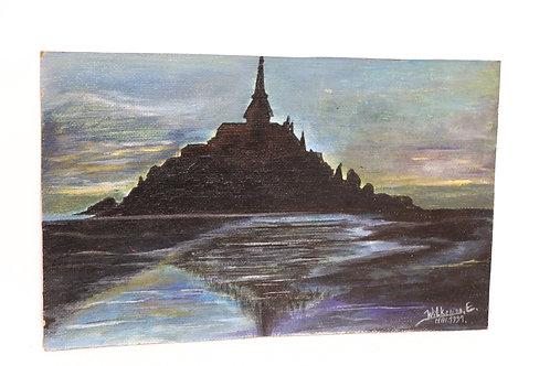 Huile sur isorel Mont-St-Michel signée et datée 1991