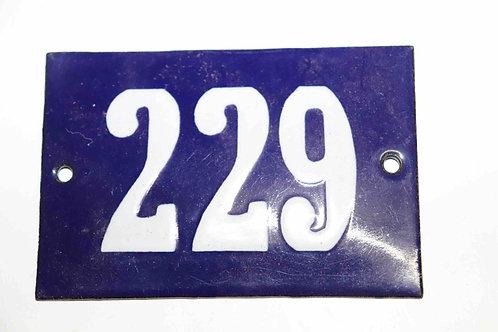Numéro de maison ancienne plaquette émaillée n°229