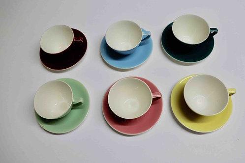 Ensemble de 6 tasses et sous-tasses Boch Frères pastel expo 58