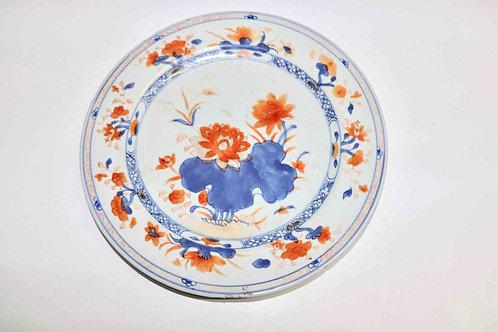 Assiette porcelaine Chine Compagnie des Indes - XIXème décor au lotus